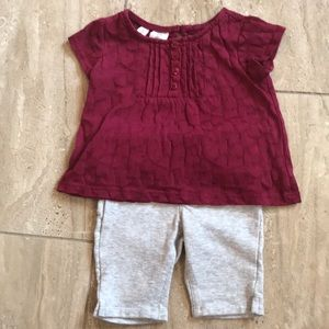 Maroon heart pattern top and grey capris jeggings
